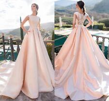 Ball Gown Cap Sleeve Wedding Dresses Long Satin Princess Bridal Gown Custom Size