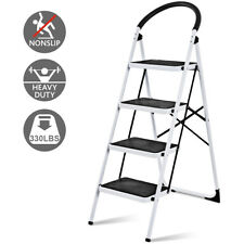 4 Step Ladder Folding Stool Heavy Duty 330lbs Capacity Industrial Lightweight