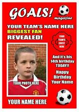 PERSONALISED FOOTBALL BIGGEST FAN ANY TEAM BIRTHDAY CARD