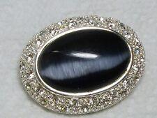 "Vintage Signed ROMAN Rhinestone & Charcoal Gray ""Cats Eye"" Glass Cabochon Brooch"