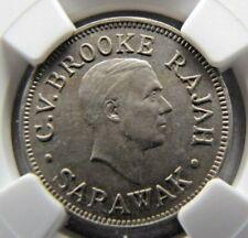 Sarawak 5 Cents 1927-H NGC AU 58.  Scarce this grade !