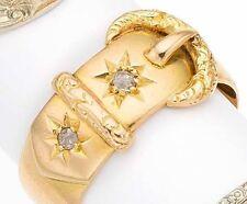 Victorian Or Art Deco English 18k Yellow Gold Diamond Belt Buckle Antique Ring