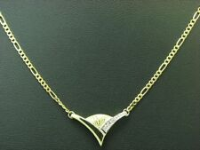 8kt 333 Gelbgold Collier mit Diamant Besatz / 40,0 cm