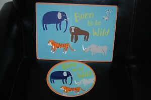 NWT Pottery Barn Kids Born to be Wild Animals 2PC Placemat Plate