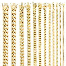 "10K Yellow Gold Real 3.5mm-17mm Miami Cuban Link Chain Pendant Necklace 16""- 30"""