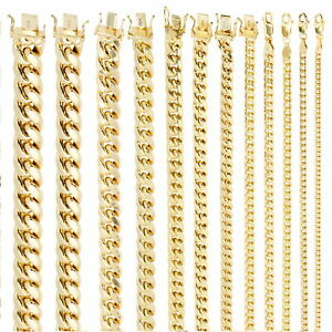 """10K Yellow Gold Real 3.5mm-17mm Miami Cuban Link Chain Pendant Necklace 16""""- 30"""""""