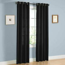 "TWO PANELS BLACK  WINDOW  FAUX SILK  GROMMET CURTAIN DRAPES 63"" LENGTH MIRA"