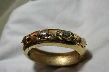 Vintage Sea Turtle Gold Tone Large Clamp Bangle Bracelet