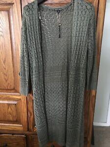 New Women's Plus 2X Duster Sweater Acrylic Dark Green Crocheted knit