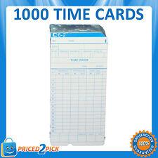 1000 x Employee Bundi Time Clock Cards Cardboard Card 84x185mm (10 x 100 packs)