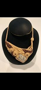 HANDMADE LEATHER NECKLACE WITH ISRAELI JASPER STONE - ONE OF A KIND