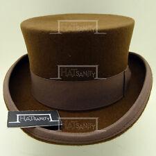 CLASSIC Wool Felt Tuxedo Top Hat Men Victorian Coachman Topper | 59cm | Brown