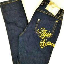 Apple Bottoms Womens Size 32x34 9 10 Dark Wash Jeans Straight Pocket Spell Out