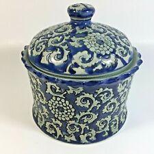 Jar with Lid Porcelain Blue Decorative Storage Cookie