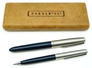 """Vintage PARKER """"21"""" Fountain Pen & Mechanical Pencil Set with Case NO RESERVE"""