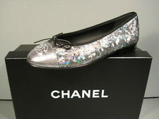 CHANEL Silver Metallic leather ballerina flats cap round toe 35/4.5 shoes NEW