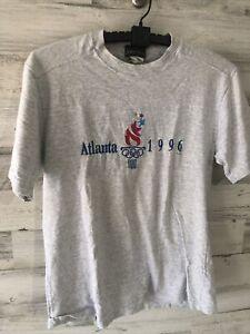 Vintage 90s 1996 Atlanta Olympics T Shirt Size Mens M RARE Gray Embroidered