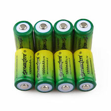 8pcs SKYWOLFEYE 16340 CR123A LR123A 3.7V 1800mAh Rechargeable Li-Ion Batter