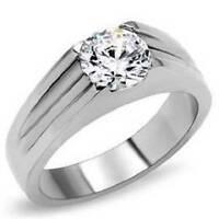 STK193PB WOMENS MANS SOLITAIRE 1.85CT SIMULATED DIAMOND RING WILL NOT TARNISH