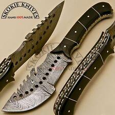 CUSTOM HAND MADE DAMASCUS STEEL HUNTING TRACKER KNIFE HANDLE BULL HORN