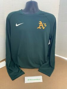 Green Nike Oakland A's Long Sleeve Dri-Fit Shirt Size M New: W/ Tags Slim Fit
