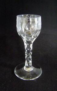 Georgian Liquor Glass with Faceted Stem and Engraved Bowl : Chipped foot  #1