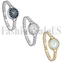 Womens Ultrathin Gold Silver Tone Stainless Steel Band Analog Quartz Wrist Watch