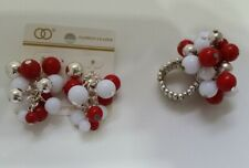 SET Red /White / Silver beads Dangle Drop Earrings and Stretch Ring N6-5/22