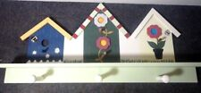 cute birdhouse coat rack shelf with pegs for garden shed or kid's room