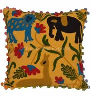 Indian Uzbek Suzani Cushion Cover 16x16 Embroidered Square Throw Pillow Case Art