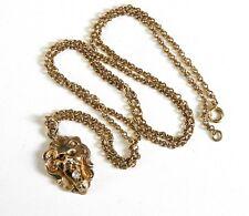 Lion Pendant Necklace Diamond Antique Victorian Belle Epoque Solid 10K Gold