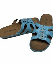 NWOB Appleseed's Womens Sz 7.5 Blue Slip On Open Toed Strappy Floral Sandal