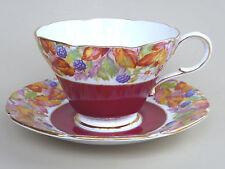 Paragon Wild Blackberry Tea Cup Saucer 94405/2 Red Floral Fruit England Vtg