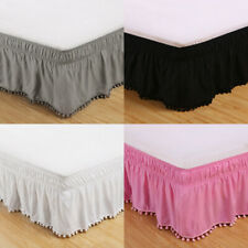 Ball Tassel Bed Skirt Fitted Valance Sheet Elastic Bedroom Bedding Bed Cover