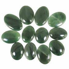 12 Pcs Natural Green Jade Top Quality Beautiful Untreated Loose Gems 30mm-40.7mm