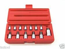 """13 pc Tamper Torx Star Bit Socket Chrome Vanadium S2 Steel 1/4"""" 3/8"""" 1/2"""" Drive"""