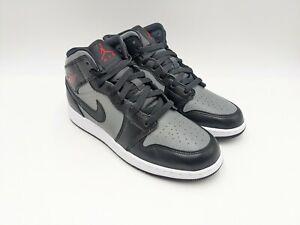 Nike Air Jordan 1 Mid Shadow GS 554725-096 Size 6.5Y Women's Size 8 Black Grey
