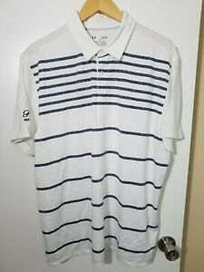 1 NWT UNDER ARMOUR MEN'S POLO, SIZE: X-LARGE, COLOR: WHITE/NAVY HEATHER (J88)