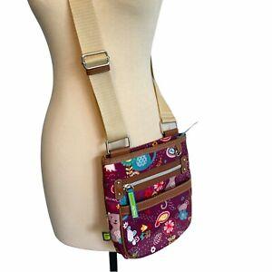 Lily Bloom Cat & Mouse Crossbody Bag Purse Handbag Purple