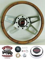 """1964-1966 Nova Chevy 2 steering wheel BOWTIE Grant 13 1/2"""" WALNUT 4 SPOKE wheel"""