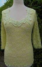 PER UNA LACE TOP SIZE 16 LACE APPLIQUE YELLOW SEE THROUGH STRETCH