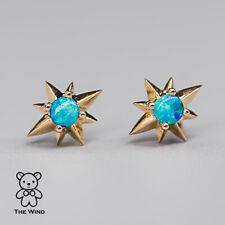Beautiful Starry Design Australian Solid Opal Stud Earrings 18K Yellow Gold