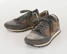 New BRUNELLO CUCINELLI Brown Leather W/ Monilli Sneakers Shoes 35.5/5.5 $1245