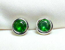 Smaragd Ohrstecker 925 Silber, rhodiniert, facettierte Edelsteine ca 6 mm neu