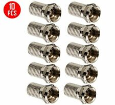 10 Pack F type Rg6 Twist On Coax Cable Rf Connector Plug Satellite Antenna Tv