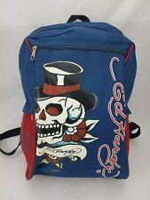 ED HARDY Back Pack Skull Small Travel Book Bag Blue Red 4 Zipper Pockets