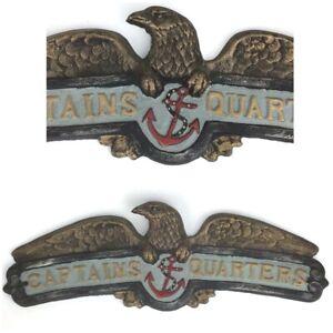 """Vintage look Cast Iron Anchor Captains Quarters 15"""" Metal Sign Nautical Man Cave"""