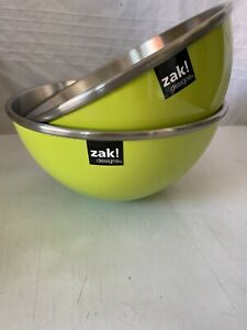 🔥Offers Zak Designs Gemini Mixing Salad Bowl Melamine/Steel 20cms Green Camping