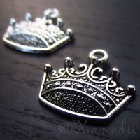 Crown Charms - Wholesale Antiqued Silver Plated Pendants C3145 - 10, 20 Or 50PCs