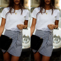 Fashion Women Pencil Skirt Plaid High Waist Irregular Casual Lace-Up Mini Skirt